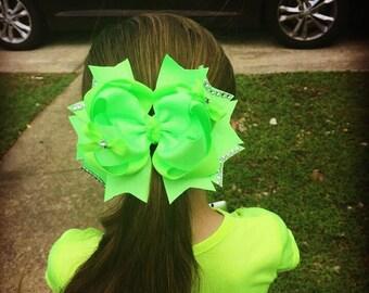 """6"""" xl hair bow, boutique hair bow, big girl hair bow, layered hair bow"""