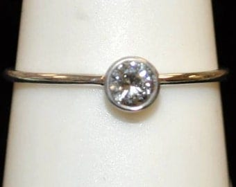 """14kt White Gold Diamond """"Stackable"""" Ring"""