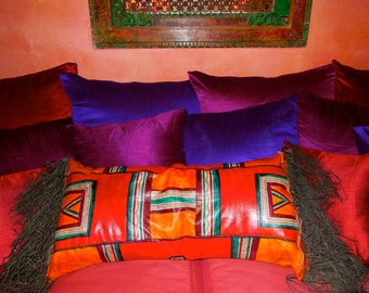 Tuareg Leather Pillow Case + Inserts Large Tribal Ethnic Decor African
