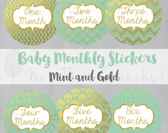 Baby Monthly Growth Stickers - Milestone Bodysuit Stickers - Mint and Gold Photo Stickers - Mint Baby Month Stickers - Baby Shower Gift