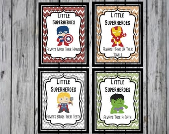 Super Hero Bathroom Prints- Captain America, Thor, Ironman, Hulk Bathroom, Super Hero Decoration, Super Hero bathroom, PRINTABLE