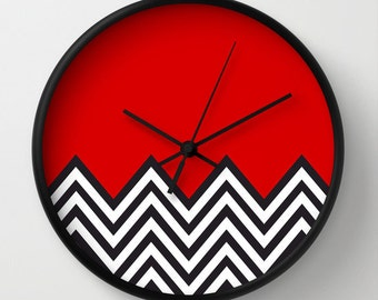 Modern red Clock, Modern Wall Clock, Modern Clock, The Modern Clock, Black and white clock, modern striped clock, modern wall clock