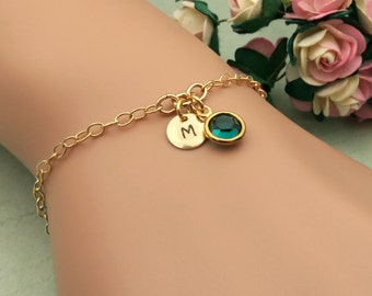 Gold Initial Birthstone Bracelet, 14k Gold Filled, Personalized Bracelet, Initial Bracelet, Gold Bracelet, Personalized Jewelry