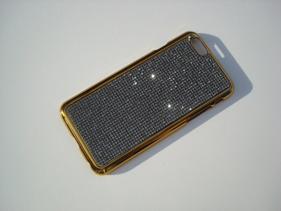 """iPhone 6 / 6s 4.7"""" Black Diamond Rhinestone Crystals on Gold-Bronze Chrome Case Velvet/Silk Pouch Included, Genuine Rangsee Crystal Cases."""