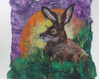 Morning Has Broken, original & unique felted picture of a hare at sunrise, mounted ready to frame