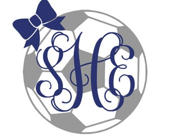 Monogram Soccer Ball Decal with Bow ~ Personalized ~ Sports Decal ~ Car Decal