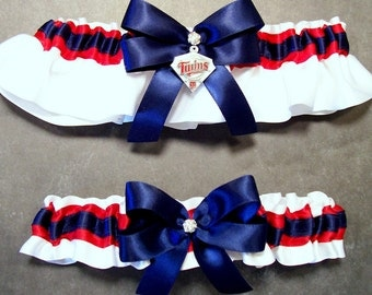 Handmade Navy & Scarlet Wedding Garter Set with a Minnesota Twins® Enameled Charm Embellishment (May also be purchased individually) #B-22