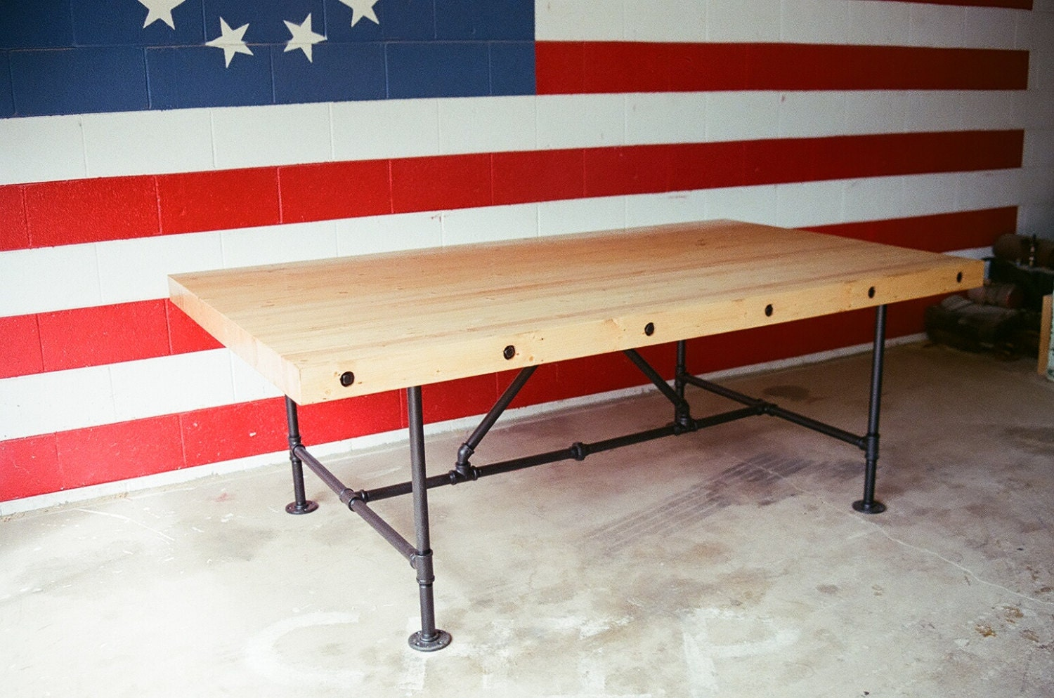 Industrial Steampunk Butcher Block Conference Room Table With Pipe Legs