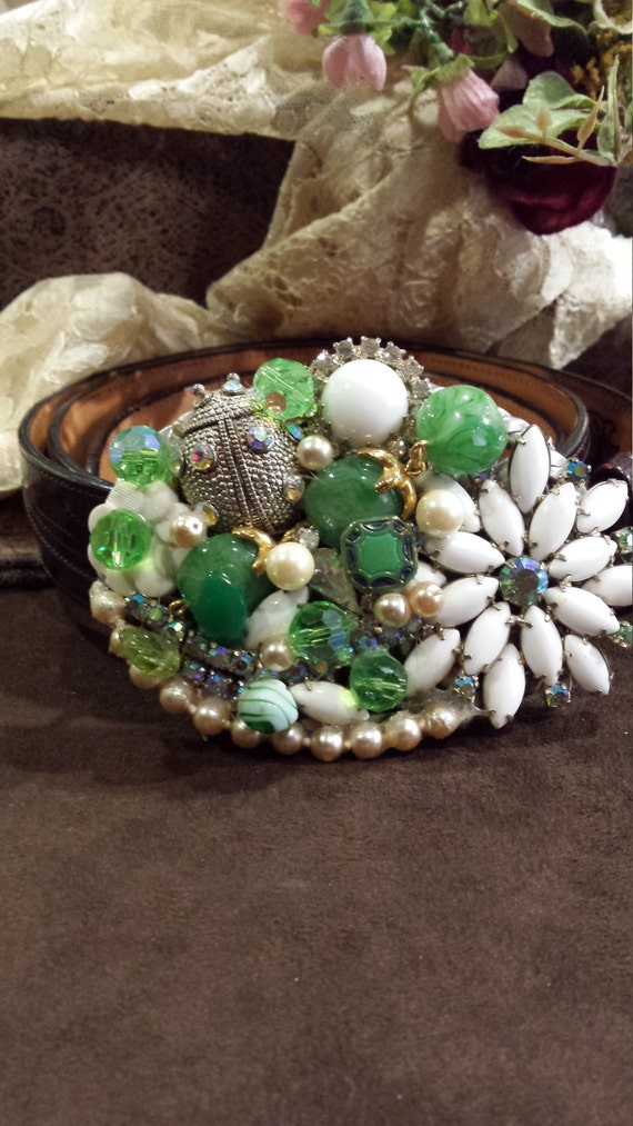 Vintage jeweled belt buckle made by petronella