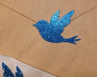 Large Blue Glitter Bird Seals - Envelope Seals Dove Seals Stickers - Wedding Event Swallow Dove Seals Love Birds