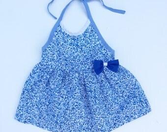 Vintage baby girl Cradle Togs blue floral dress