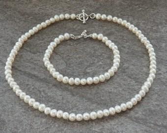 Freshwater Pearl Necklace, Pearl Bracelet, Pearl Earrings, Matching Pearls, Bridal Pearls, Wedding Pearls, Pearl Set, Jewellery Set