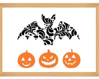 halloween cross stitch pattern, silhouette cross stitch, ornamental, pumpkin pattern, abstract, bat pattern, modern cross stitch, xstitch