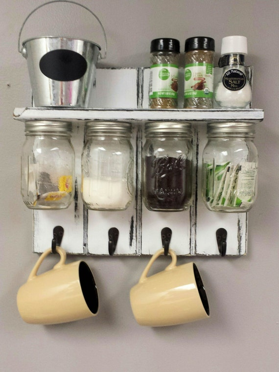 tea cup holder rack w kitchen spice rack and by recycledtrees. Black Bedroom Furniture Sets. Home Design Ideas