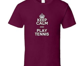 Keep Calm And Play Tennis, Burgundy T Shirt, sports, tennis