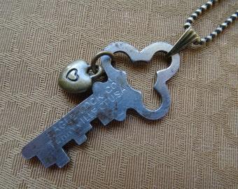 Vintage Eagle Lock key pendant