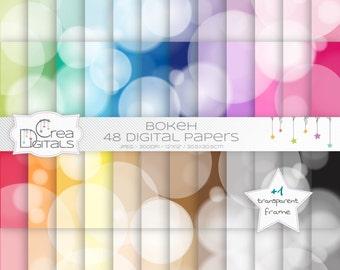 Bokeh rainbow paper pack - 48 digital papers - INSTANT DOWNLOAD