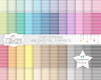 Thin straight stripes rainbow paper pack - 48 digital papers - INSTANT DOWNLOAD