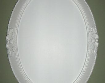 WHITE OVAL MIRROR. vanity mirror, nursery mirror, bathroom mirror, shabby chic