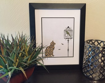 Cat and Caged Bird
