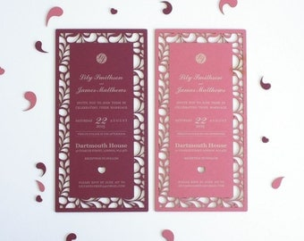 Classic chic laser cut wedding invitation and RSVP set