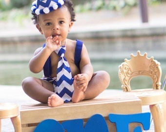Royal Blue Chevron.. Baby boy 1st Birthday Outfit...1st Birthday dressup...Cake Smash Outfit...Baby photo shoot outfit...