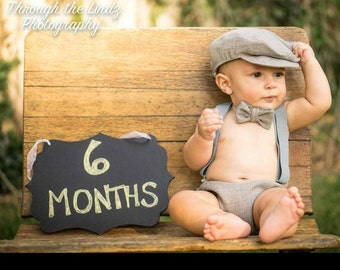 6 Month Birthday Outfit - Half Birthday Boy Outfit - 6 Month Photo Outfit Boy - 6 Month Photo Prop - Grey Baby Boy Outfit - Vintage Paperboy
