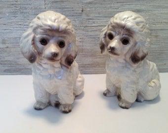 Two.Cute.1950's.Vintage Ceramic.White.Poodle/Poodles.Planters.Holders.Dog Decor.Statues, Figurines