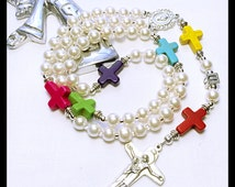 Perzonalized Rosary. Colorful Catholic Rosary Beads. Christening Gift. Holy Rosary. Religious Gift. Religious Mother Day Gift. Pearls Rosary