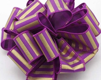 """On Sale 10 Yards of 1 1/2"""" Purple and Gold Lines Satin Wire Edge Ribbon"""