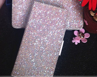 AB Sparkles Flip Slot Cards Holder Wallet Leather Bling Luxury Lovely Fashion Crystals Rhinestones Diamonds Gems Cover Case for Mobile Phone