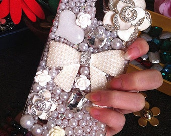 New Bling Pearls Girly Flowers Bow Sparkles White Camellia Crystals Heart Rhinestones Diamonds Fashion Lovely Hard Cover for Mobile Phones