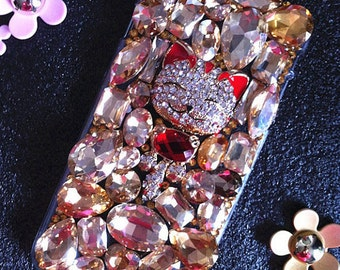 Bling Luxury Sparkles Charms Champagne Gems Golden Lucky Cat Crystals Rhinestones Diamond Fashion Lovely Hard Cover Case for Mobile Phones