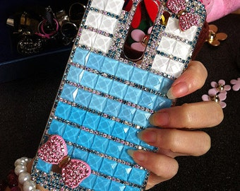 New Glossy Luxury Bling Charms Pink Bow Sparkles Girly Gems Crystals Rhinestones Diamonds Fashion Lovely Hard Cover Case for Mobile Phones
