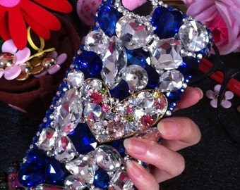 Bling Luxury Lovely Fashion New Charms Golden Heart Blue Clear Jewelled Crystals Rhinestones Diamonds Gems Hard Cover Case for Mobile Phone
