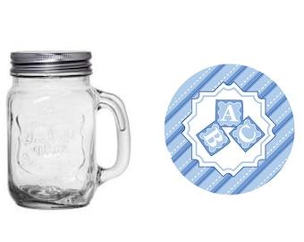 Baby Blue Blocks Jar.  Baby Shower. 16 oz jar. Party Favor. Light Blue. Blue. Baby Boy