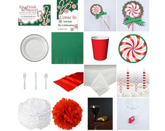 Christmas Peppermint Birthday Standard Party in a box. Invitation. Decoration. Favors. Centerpiece.