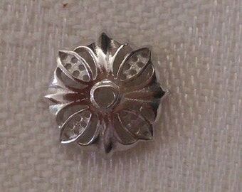 Bead Caps, 925 Sterling Silver, Flower, Platinum Plated, 10 pcs