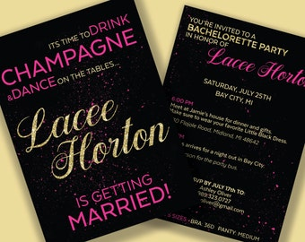 Bachelorette invitations champagne themed, Bachelorette Party Itinerary, Pink and Gold invitations, Printable and Downloadable Invitations