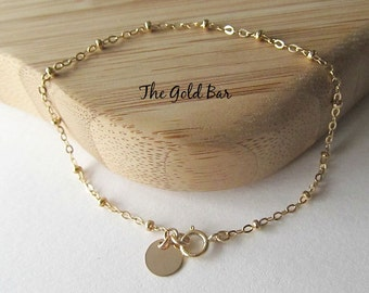 Delicate Gold Anklet, Gold Anklet, Ankle, Bracelet, Satellite Chain, Dew Drop Chain, Minimalist Jewelry