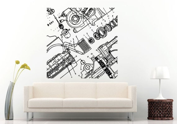 Car vehicle automobile engine motor parts blueprint wall decal like this item malvernweather Gallery