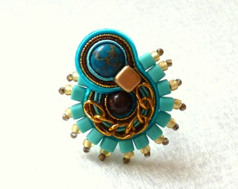 Soutache Ring Jasper Turquoise Big Ring Elegant Ethno Boho Glamour!
