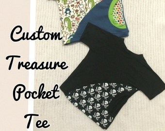 Custom made treasure pocket t-shirt (18 months to size 6)