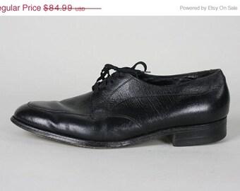 ON SALE Vintage Florsheim Black Leather Lace up Oxford Shoes 12 D