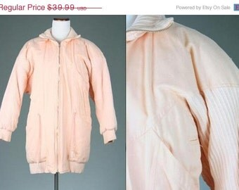 ON SALE Vintage 80s AWESOME Throwback Peach Puffy Parka Jacket Great Details M/L