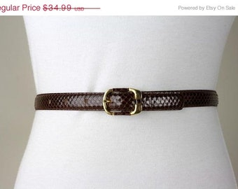 ON SALE Vintage 80s Avant Garde Brown Skinny Snakeskin Leather Belt XS/S 25-29 Exc