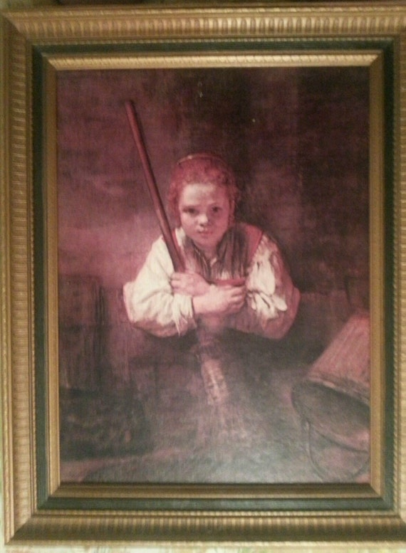 Rembrandth reproducción...  Óleo sobre lienzo chica con una escoba...  Quailty excepcional...   Rembrandt...