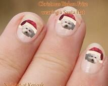 Christmas Bichon Frise Nail Art Stickers,, Dog Decals, Bichon Frisé wearing a Santa Hat, fun to wear, great gift