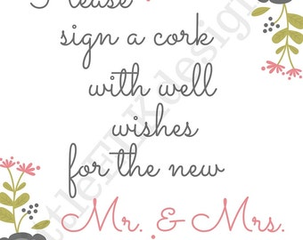 Please Sign a Cork/ Wedding Book/ Sign/ PDF/Download
