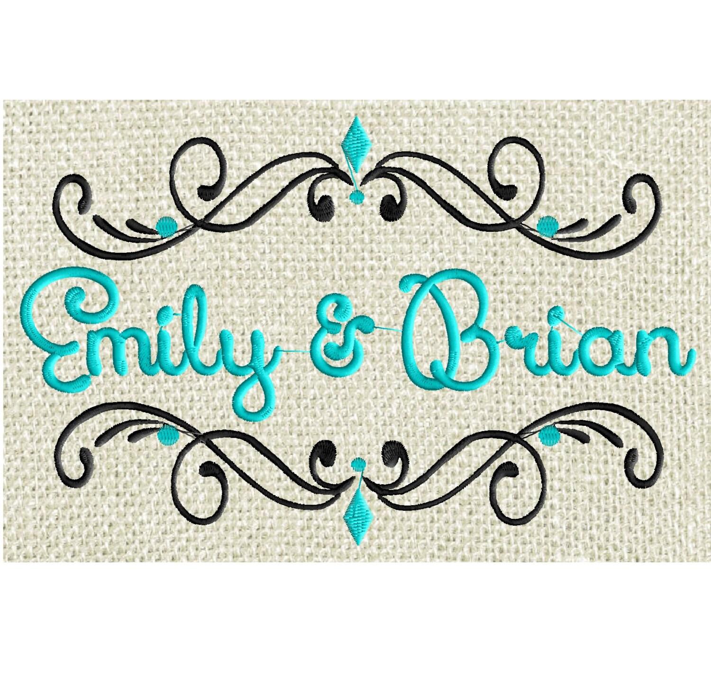 Pristina font frame monogram embroidery design not